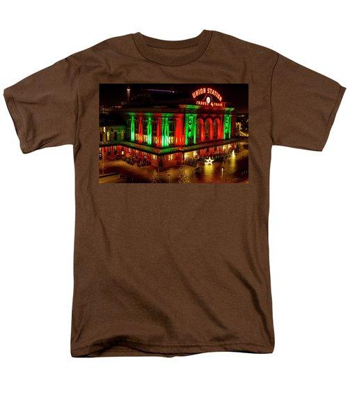 Holiday Lights At Union Station Denver Men's T-Shirt  (Regular Fit) by Teri Virbickis