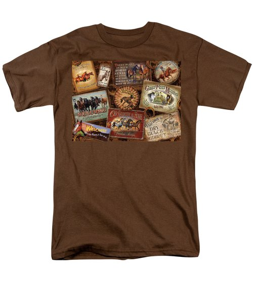Men's T-Shirt  (Regular Fit) featuring the painting Horse Sign Collage by Michelle Grant Cynthie Fisher JQ Licensing