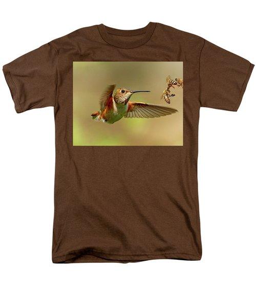 Hummingbird Vs. Bees Men's T-Shirt  (Regular Fit) by Sheldon Bilsker
