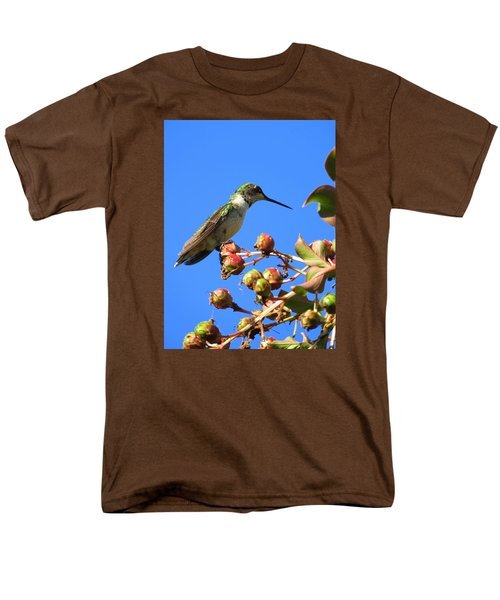 Men's T-Shirt  (Regular Fit) featuring the photograph Hummingbird Watch by Phyllis Beiser
