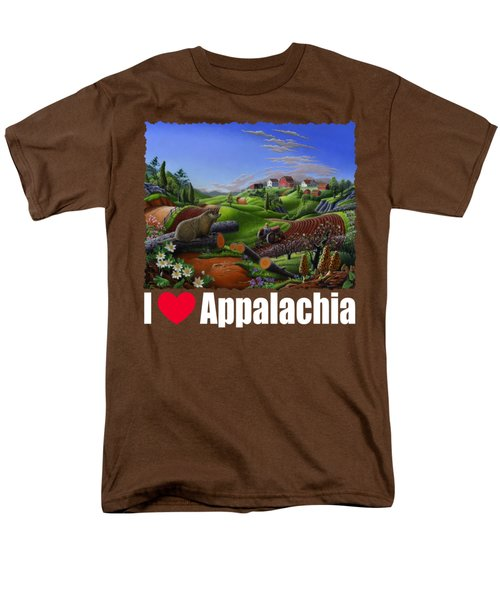 I Love Appalachia T Shirt - Spring Groundhog - Country Farm Landscape Men's T-Shirt  (Regular Fit) by Walt Curlee