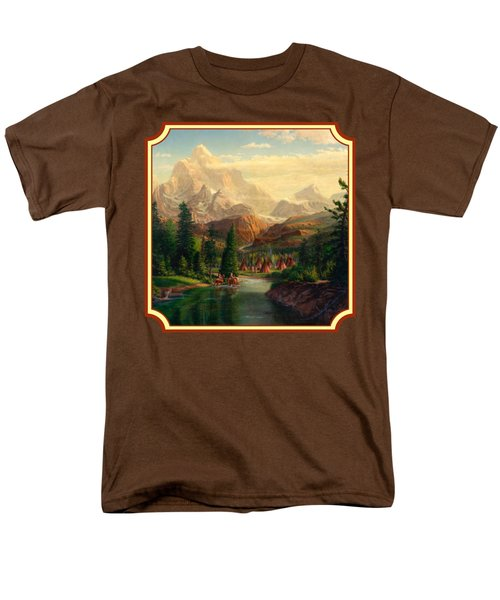 Indian Village Trapper Western Mountain Landscape Oil Painting - Native Americans -square Format Men's T-Shirt  (Regular Fit) by Walt Curlee