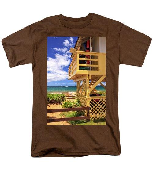 Men's T-Shirt  (Regular Fit) featuring the photograph Kamaole Beach Lifeguard Tower by James Eddy