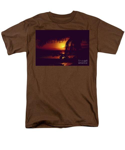 Kamaole Tropical Nights Sunset Gold Purple Palm Men's T-Shirt  (Regular Fit) by Sharon Mau