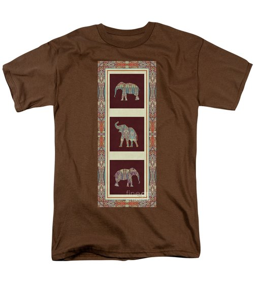 Kashmir Elephants - Vintage Style Patterned Tribal Boho Chic Art Men's T-Shirt  (Regular Fit) by Audrey Jeanne Roberts