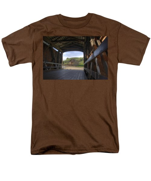 Knights Ferry Covered Bridge Men's T-Shirt  (Regular Fit) by Jim and Emily Bush