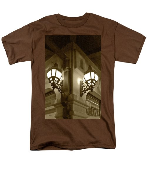 Men's T-Shirt  (Regular Fit) featuring the photograph Lanterns - Night In The City - In Sepia by Ben and Raisa Gertsberg