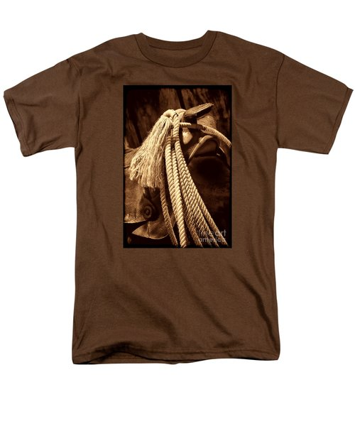 Lariat On A Saddle Men's T-Shirt  (Regular Fit) by American West Legend By Olivier Le Queinec