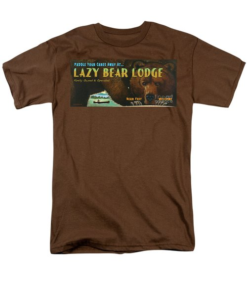 Men's T-Shirt  (Regular Fit) featuring the painting Lazy Bear Lodge Sign by Wayne McGloughlin