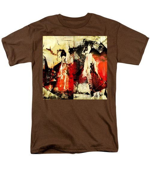 Little Red Riding Hood And The Big Bad Wolf Under A Yellow Moon Men's T-Shirt  (Regular Fit) by Jeff Burgess
