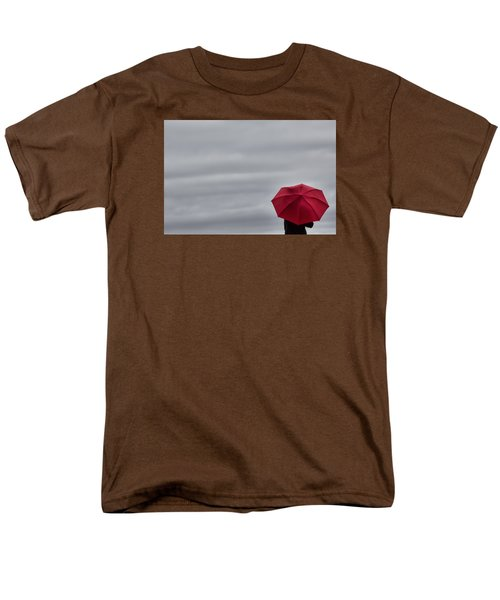 Little Red Umbrella In A Big Universe Men's T-Shirt  (Regular Fit) by Don Schwartz