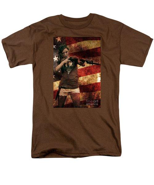 M1 Carbine On American Flag Men's T-Shirt  (Regular Fit) by David Bazabal Studios