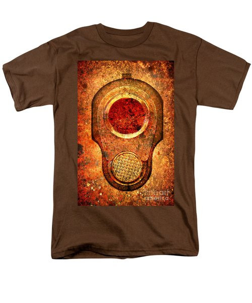 M1911 Muzzle On Rusted Background - With Red Filter Men's T-Shirt  (Regular Fit) by M L C