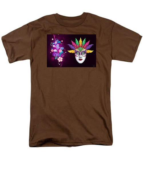 Men's T-Shirt  (Regular Fit) featuring the photograph Mardi Gras Mask On Floral Background by Gary Crockett