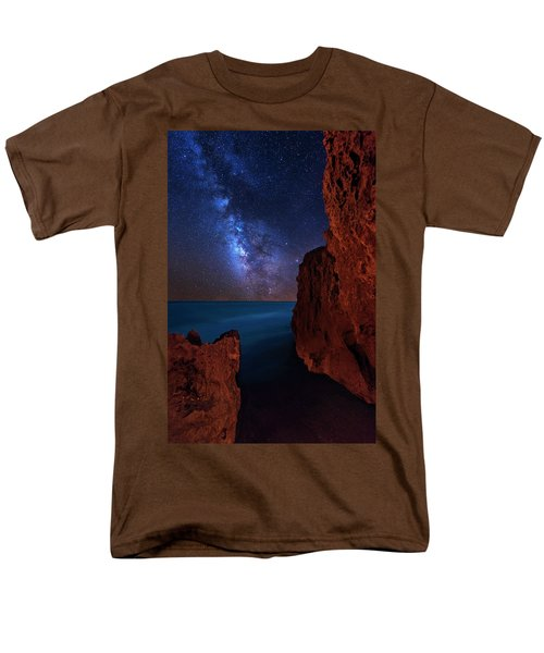 Men's T-Shirt  (Regular Fit) featuring the photograph Milky Way Over Huchinson Island Beach Florida by Justin Kelefas
