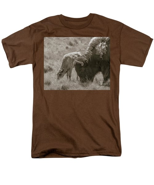 Men's T-Shirt  (Regular Fit) featuring the photograph Mom And Baby Buffalo by Rebecca Margraf