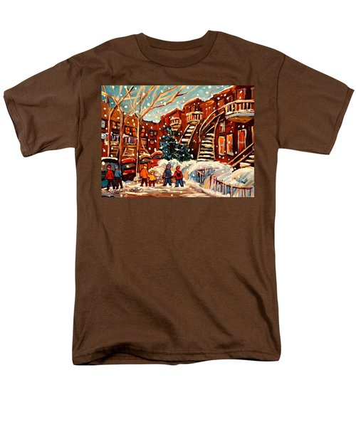 Montreal Street In Winter Men's T-Shirt  (Regular Fit) by Carole Spandau