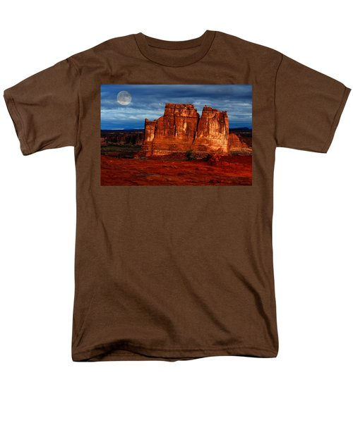 Men's T-Shirt  (Regular Fit) featuring the photograph Moon Over La Sal by Harry Spitz