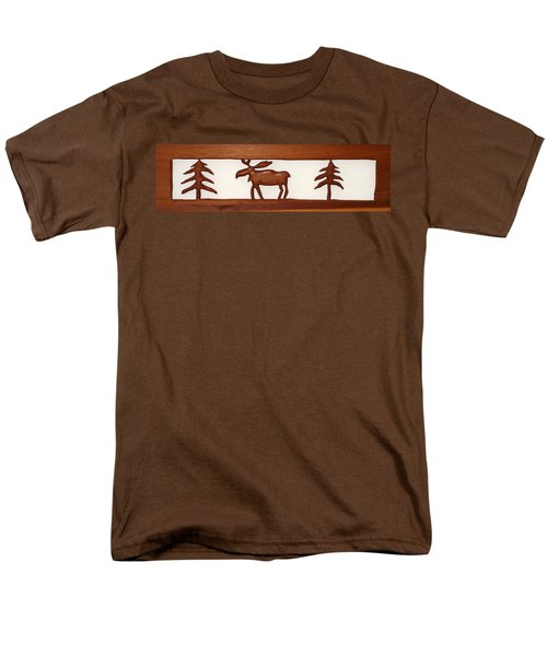 Men's T-Shirt  (Regular Fit) featuring the mixed media Moose Walking Through The Forest by Robert Margetts