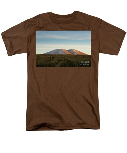 Mount Gutanasar In Front Of Wheat Field At Sunset, Armenia Men's T-Shirt  (Regular Fit) by Gurgen Bakhshetsyan