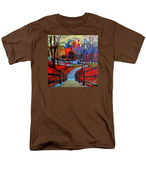 Men's T-Shirt  (Regular Fit) featuring the painting Mount Royal Peel's Exit by Marie-Line Vasseur