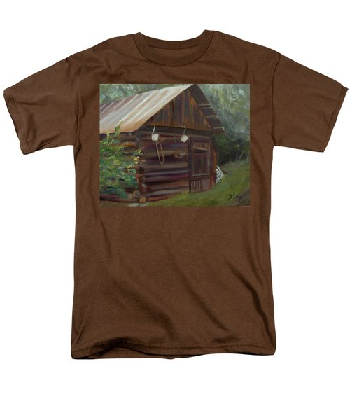 Men's T-Shirt  (Regular Fit) featuring the painting Mulberry Farms Grainery by Donna Tuten