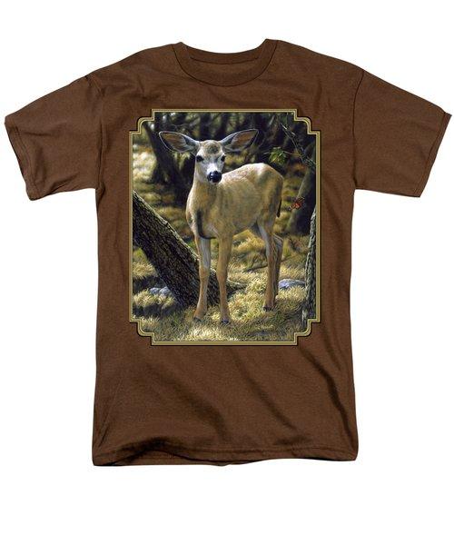 Mule Deer Fawn - Monarch Moment Men's T-Shirt  (Regular Fit) by Crista Forest
