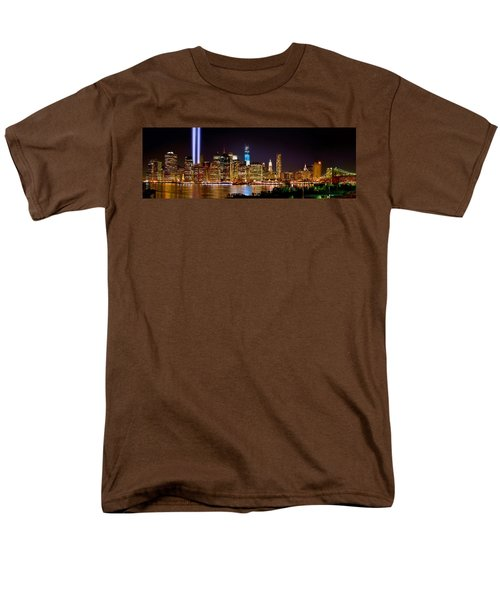 New York City Tribute In Lights And Lower Manhattan At Night Nyc Men's T-Shirt  (Regular Fit) by Jon Holiday