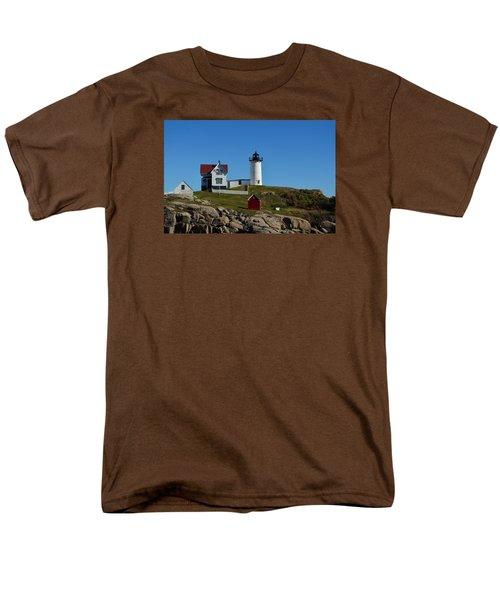 Nubble Lighthouse In Ogunquit  Men's T-Shirt  (Regular Fit) by Richard Ortolano