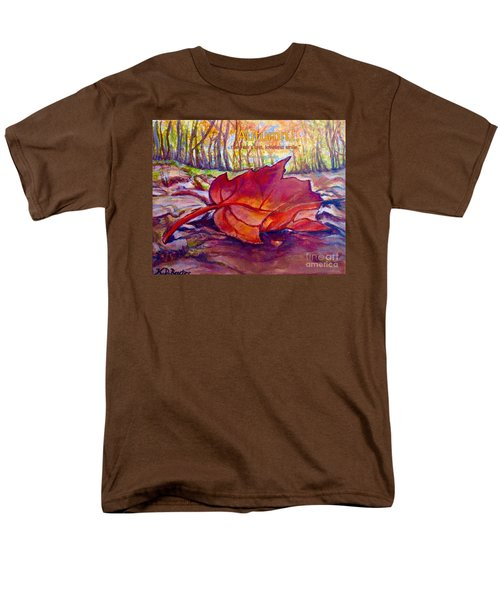 Ode To A Fallen Leaf Painting With Quote Men's T-Shirt  (Regular Fit) by Kimberlee Baxter