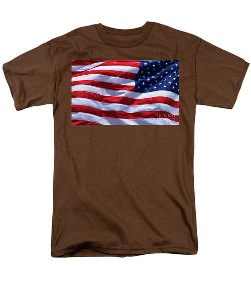 Men's T-Shirt  (Regular Fit) featuring the photograph Stitches Old Glory American Flag Art by Reid Callaway