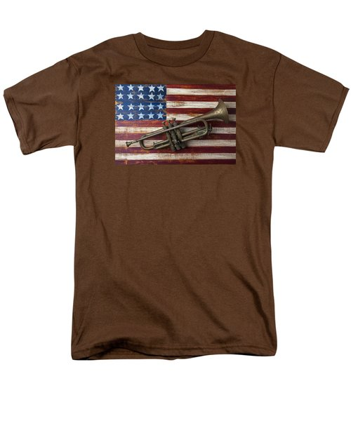 Old Trumpet On American Flag Men's T-Shirt  (Regular Fit) by Garry Gay