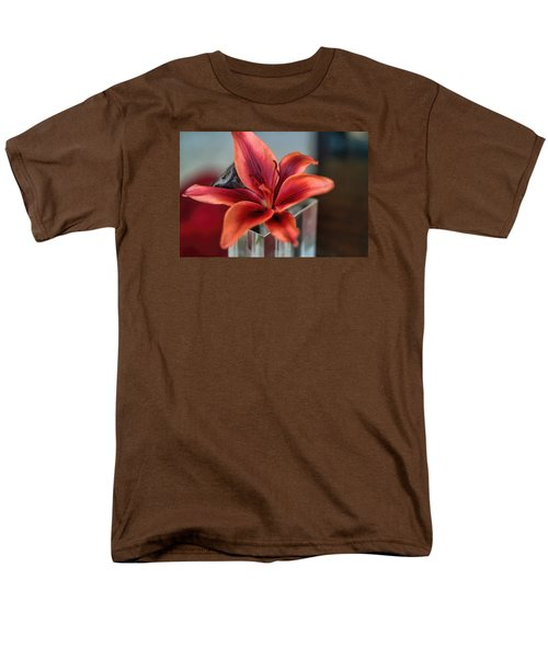 Men's T-Shirt  (Regular Fit) featuring the photograph Orange Lilly And Her Companion Abstract by Diana Mary Sharpton