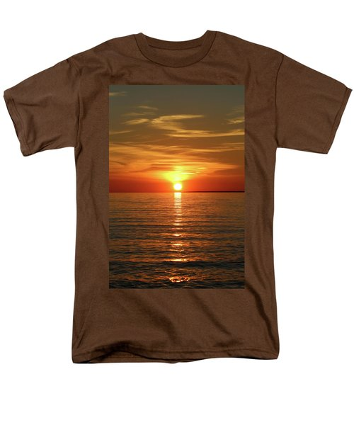 Men's T-Shirt  (Regular Fit) featuring the photograph Orange Sunset Lake Superior by Paula Brown