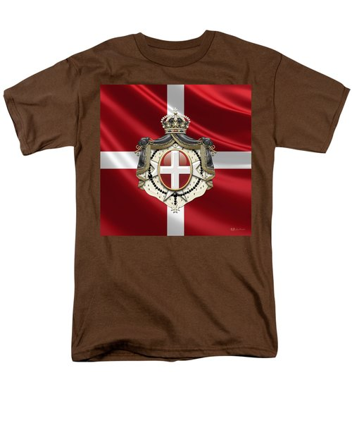 Order Of Malta Coat Of Arms Over Flag Men's T-Shirt  (Regular Fit)