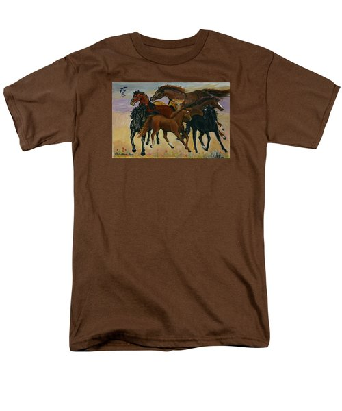 Men's T-Shirt  (Regular Fit) featuring the painting Our Horses by Dawn Senior-Trask