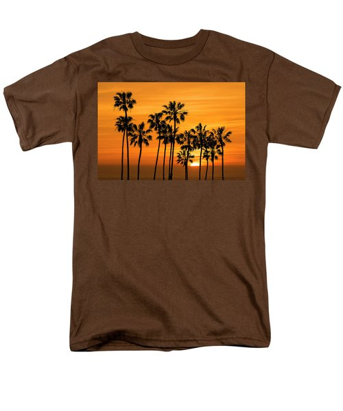 Men's T-Shirt  (Regular Fit) featuring the photograph Palm Trees At Sunset By Cabrillo Beach by Randall Nyhof