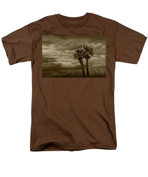 Men's T-Shirt  (Regular Fit) featuring the photograph Palm Trees By Borrego Springs In Sepia Tone by Randall Nyhof