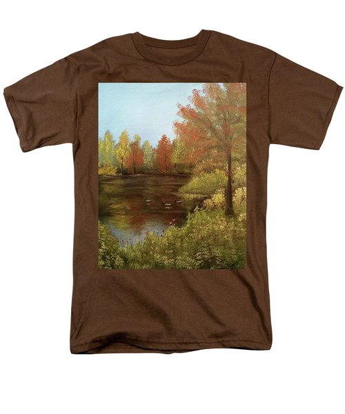 Men's T-Shirt  (Regular Fit) featuring the mixed media Park In Autumn by Angela Stout