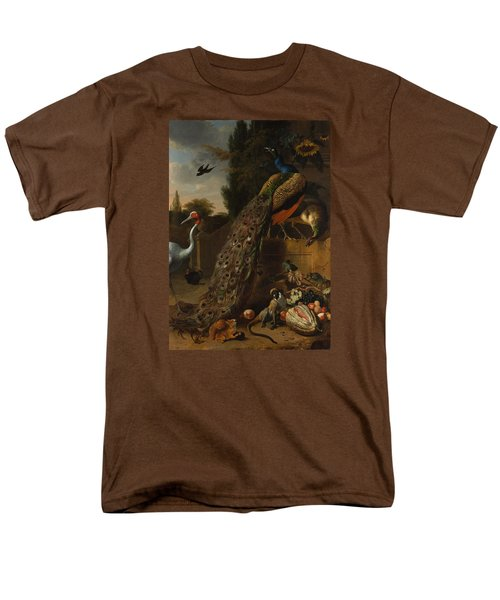 Men's T-Shirt  (Regular Fit) featuring the painting Peacocks by Melchior d'Hondecoeter