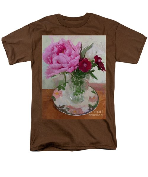 Men's T-Shirt  (Regular Fit) featuring the digital art Peonies With Sweet Williams by Alexis Rotella