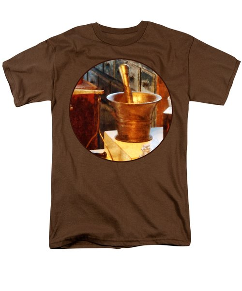 Men's T-Shirt  (Regular Fit) featuring the photograph Pharmacist - Brass Mortar And Pestle by Susan Savad