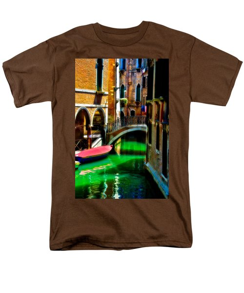 Pink Boat And Canal Men's T-Shirt  (Regular Fit) by Harry Spitz