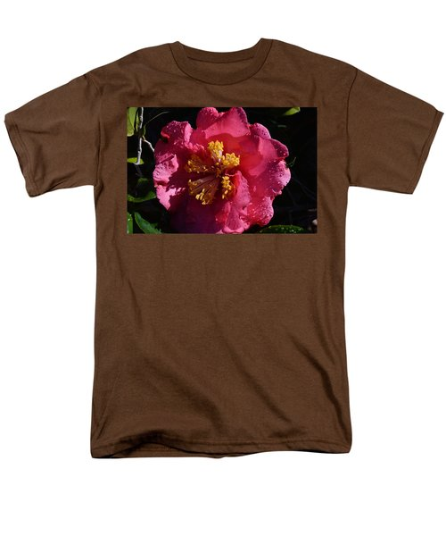 Pink Camillia With Raindrops Men's T-Shirt  (Regular Fit) by Warren Thompson