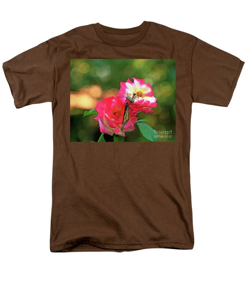 Pink Roses And Butterfly Photo Men's T-Shirt  (Regular Fit) by Luana K Perez