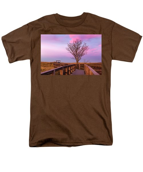 Plum Island Boardwalk With Tree Men's T-Shirt  (Regular Fit) by Betty Denise