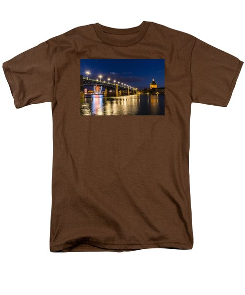 Men's T-Shirt  (Regular Fit) featuring the photograph Pont Saint-pierre With Street Lanterns At Night by Semmick Photo