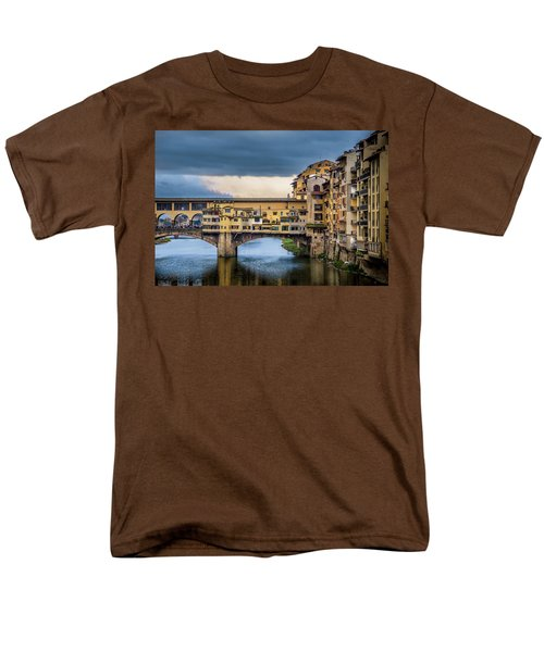 Men's T-Shirt  (Regular Fit) featuring the photograph Ponte Vecchio E Gabbiani by Sonny Marcyan