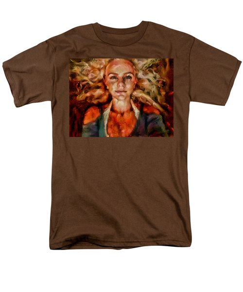 Men's T-Shirt  (Regular Fit) featuring the painting Portrait Of Female With Hair Billowing Everywhere In Radiant Unsmiling Sharp Features Golden Warm Colors And Upturned Nose Curls And Aliens Of The Departure by MendyZ
