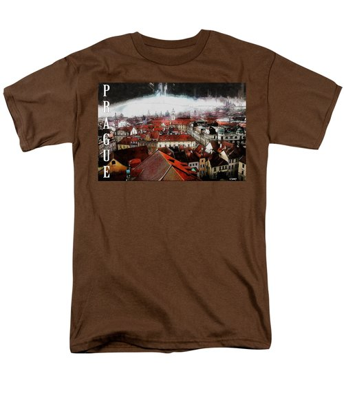 Men's T-Shirt  (Regular Fit) featuring the painting Prague Old Town Poster by Kai Saarto